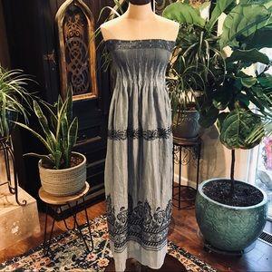 Lapis blue gray organza maxi strapless dress